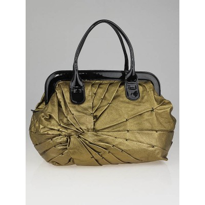 Valentino Gold Leather Pintucked Maison Frame Tote Bag