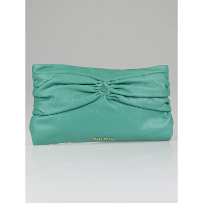 Miu Miu Aquamarina Nappa Leather Oversized Bow Pochette Clutch Bag