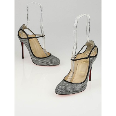 Christian Louboutin Black/White Houndstooth Mini Fabric Roudounia 100 Mary Jane Pumps Size 9/39.5