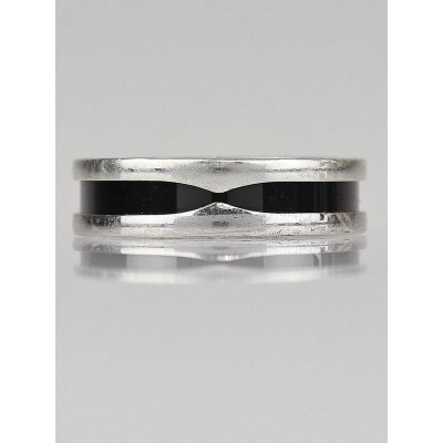 Bvlgari Sterling Silver and Ceramic B.Zero1 Save The Children Ring Size 11