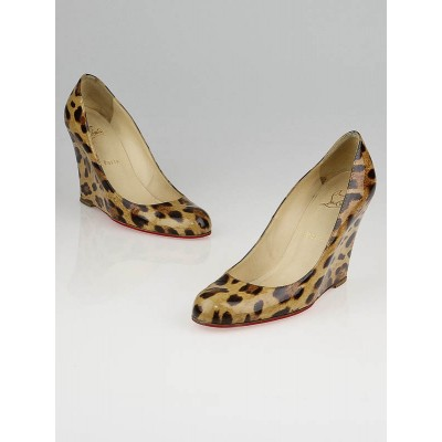 Christian Louboutin Leopard Print Patent Leather Wedges Size 8/38.5