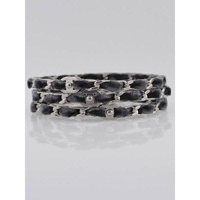 Chanel Silver/Grey Velvet Chain Bangle Bracelets