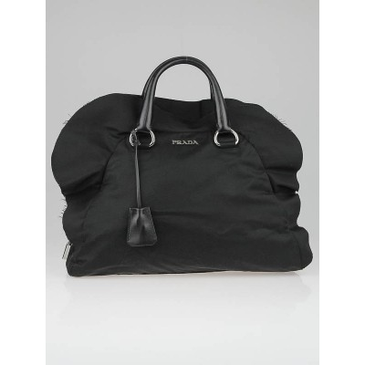 Prada Black Tessuto Nylon Ruffle Bauletto Bag BL0545