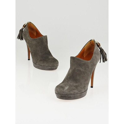 Gucci Grey Suede Bamboo Tassel Booties Size 8.5/39