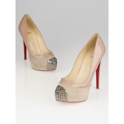 Christian Louboutin Nude Suede/Patent Leather Steel-Toe Platform Maggie 140 Pumps Size 7/37.5
