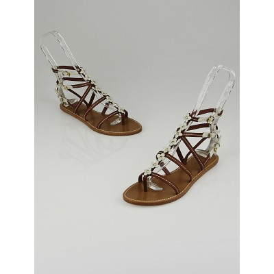 Louis Vuitton Brown Leather Fleurus Gladiator Flat Sandals Size 5.5/36