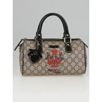 Gucci Beige/Ebony GG Coated Canvas Tattoo Heart Small Boston Bag