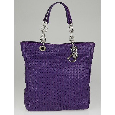 Christian Dior Purple Woven Leather Dior Soft Large Tote Bag