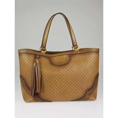Gucci Honey Microguccissima Brogue Leather Large Duilio Tote Bag