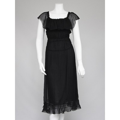 Prada Black Silk Chiffon Ruched Summer Dress Size 6/40
