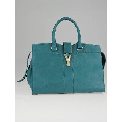 Yves Saint Laurent Turquoise Leather Medium Cabas ChYc Bag