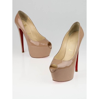 Christian Louboutin Nude Patent Leather Lady Highness 160 Size 7/37.5