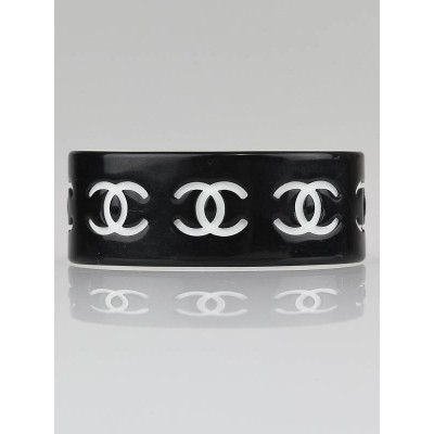 Chanel Black/White CC Cuff Bracelet