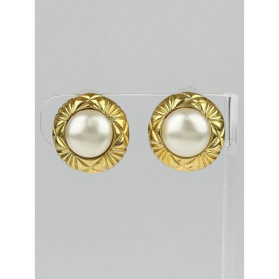 Chanel Faux Pearl and Quilted Gold Disc Small Clip-On Earrings