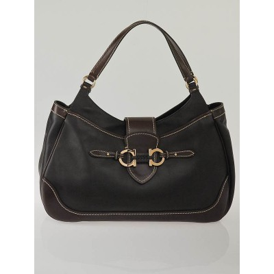 Salvatore Ferragamo Brown Leather Erin Two-Tone Hobo Bag