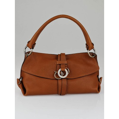 Salvatore Ferragamo Tan Calf Leather Samuela Shoulder Bag