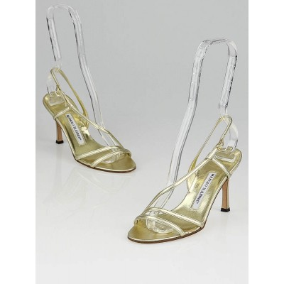 Manolo Blahnik Gold Leather Strappy Sandals Size 5/35.5