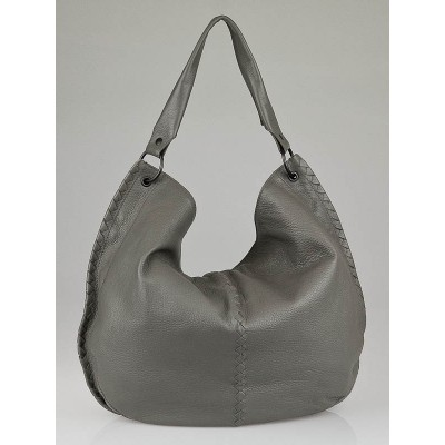 Bottega Veneta Titanium Waxed Cervo Leather Large Loop Hobo Bag