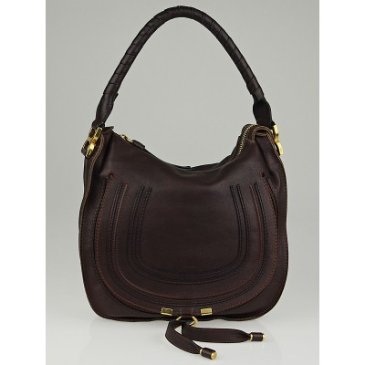 Chloe Burgundy Calfskin Leather Small Marcie Hobo Bag