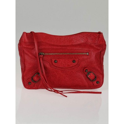 Balenciaga Coquelicot Lambskin Leather Trousse Maquillage Cosmetic Pouch