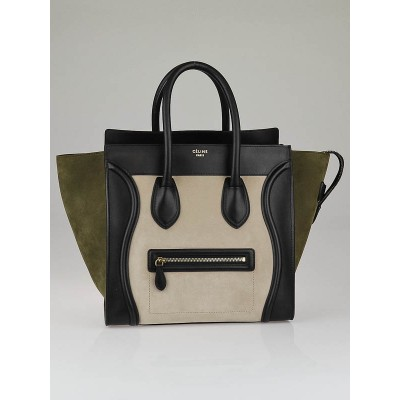 Celine Beige Nubuck Olive Suede Black Smooth Leather Tricolor Mini Luggage Tote Bag