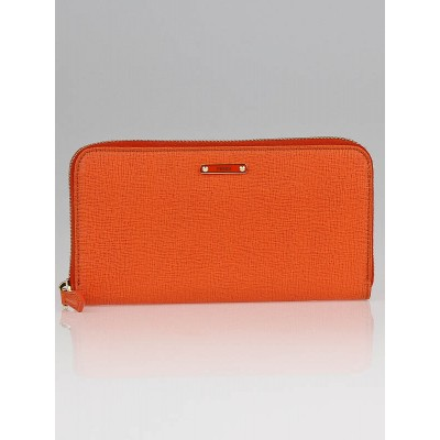 Fendi Tangerine Pattina Vitello Elite Leather Long Zippy Wallet