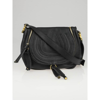 Chloe Black Leather Medium Marcie Crossbody Bag