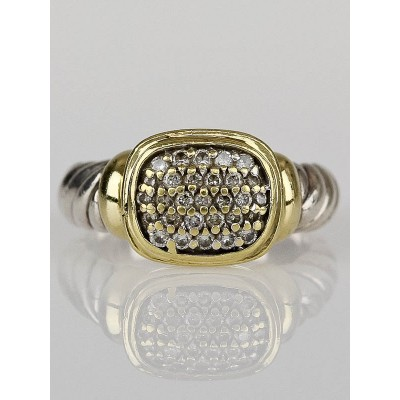 David Yurman Sterling Silver and 14k Gold Pave Diamond Ring Size 6.5