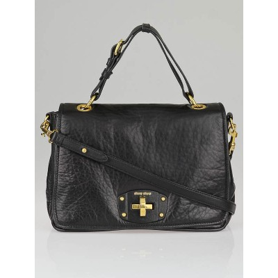 Miu Miu Black Nappa Leather Turnlock Satchel Bag RN0729