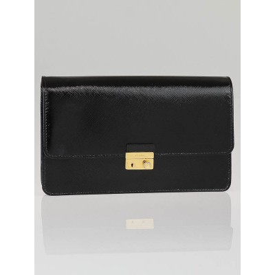 Prada Black Patent Saffiano Leather Clutch Bag 1M1332