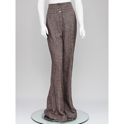 Chanel Brown Tweed High Waisted Wide Leg Trouser Pants Size 10/42