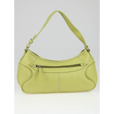Salvatore Ferragamo Green Leather Small Baguette Shoulder Bag