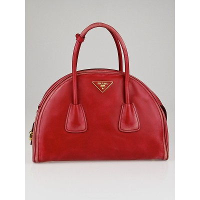 Prada Rosso Vitello Vintage Leather Bauletto Bowler Bag BL0876
