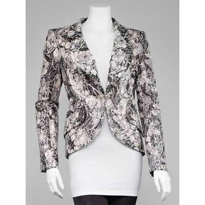Chanel Pink/Black Sequin Camellia Jacket Size 10/42