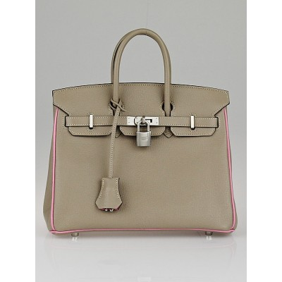 Hermes 25cm Special Order Bi-Color Gris Perle/Pink Togo/Chevre Leather Brushed Palladium Plated Birkin Bag