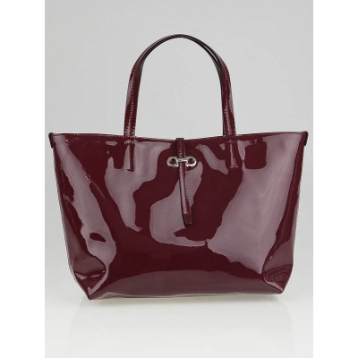 Salvatore Ferragamo Bordeaux Patent Leather Gavina Small Tote Bag