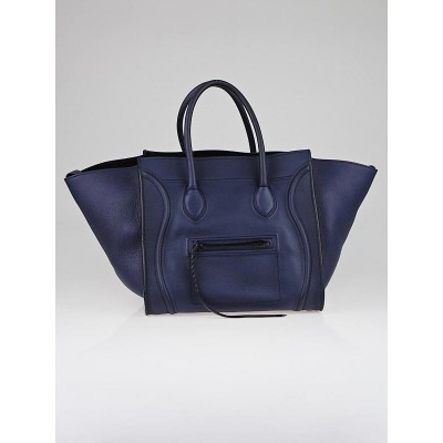 Celine Midnight Smooth Calfskin Leather Small Phantom Luggage Tote Bag