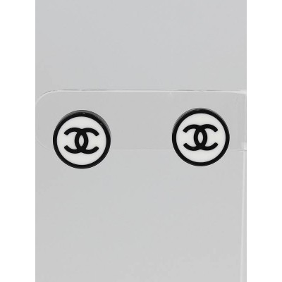 Chanel Black/White CC Round Stud Earrings