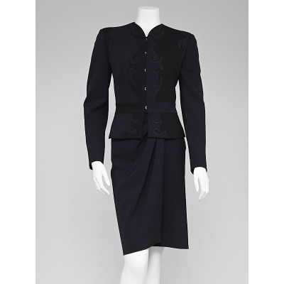 Emporio Armani Navy Blue Wool Blend Skirt Suit Size 6/40