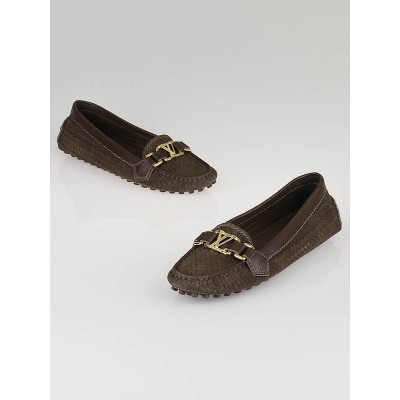 Louis Vuitton Brown Woven Suede Oxford Loafers Size 6.5/37