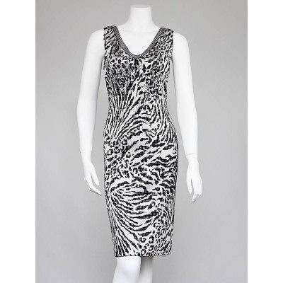 St. John Black/White Zebra Print Beaded Sleeveless Dress Size 4