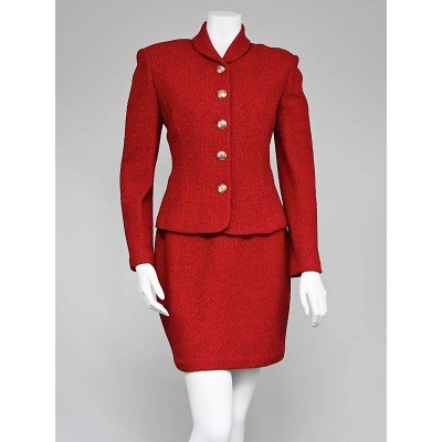 St. John Red Knit Tweet Skirt Suit Size 6