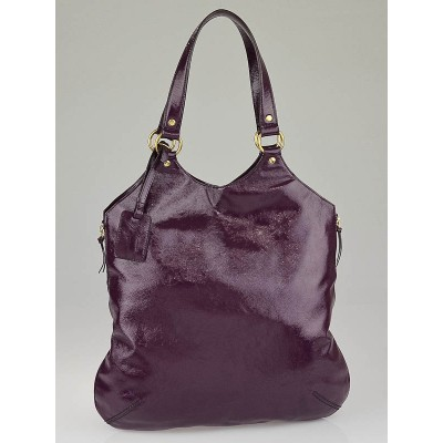 Yves Saint Laurent Purple Patent Leather Large Tribute Tote Bag