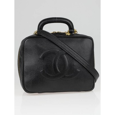 Chanel Black Caviar Leather CC Cosmetic Travel Case Bag