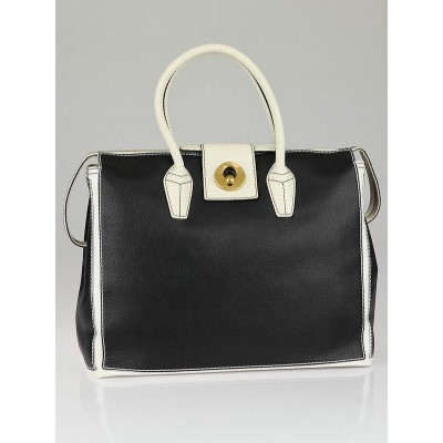 Yves Saint Laurent Black/White Leather Muse Two Cabas Tote Bag