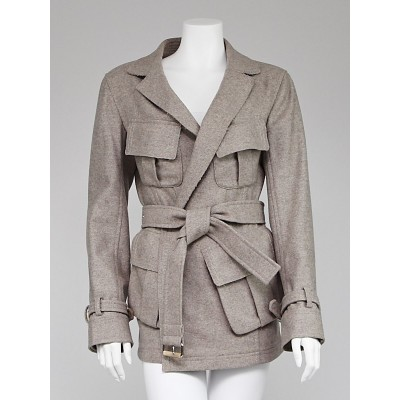 Donna Karan Grey Wool Belted Jacket Size 6