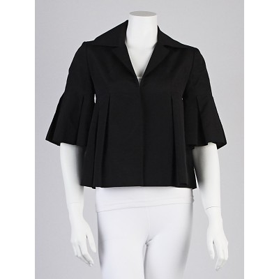 Christian Dior Black Cropped Pleated Jacket Size 6