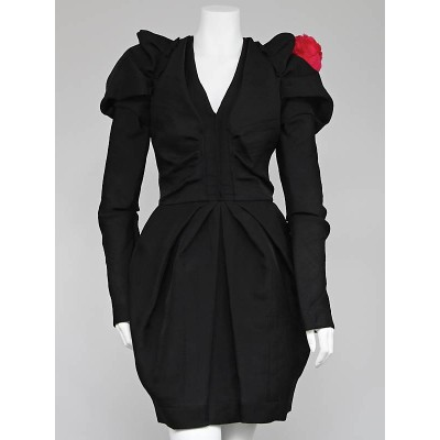 Louis Vuitton Black Wool Long Sleeve Dress Size 8/40