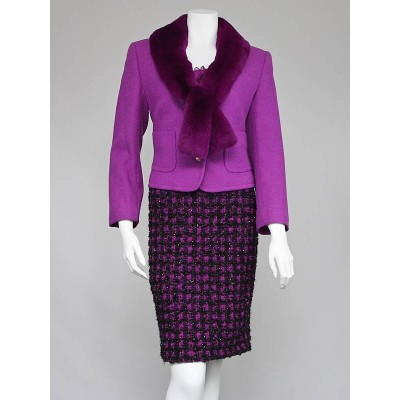Escada Purple Wool/Rabbit Two Skirt Suit Set Size 4/38