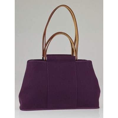 Hermes Purple Canvas Cabag Elan Tote Bag